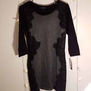Black/Grey Sweater Dress with lace sides